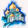Temple building with golden cupola, watercolor with slate-pencil - Stock Photo