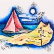 Scarlet sailed boat seascape, watercolor with slate-pencil paint - Photo