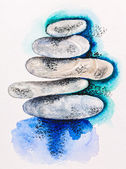 Pebble stones heap harmony symbol, watercolor with slate-pencil — Stock fotografie