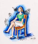 Kobieta siedzi na krześle, akwarela malarstwo łupków ołówek — Zdjęcie stockowe