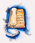 Orange push-button telephone on blue, watercolor with slate-penc — Stock Photo