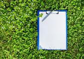 синий медицинской буфер обмена с помощью пера над пышный зеленый клевер травы — Стоковое фото