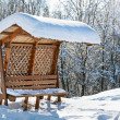 Wooden awning bench covered by hard snow - ストック写真