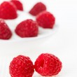 Still life with pair of raspberry on white linen table cloth, co — Stock Photo