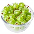Gooseberry fruits in transparent glass, isolated on white macro — Stock Photo #18735559