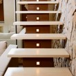 Stock Photo: Modern style staircase and ashlar wall, interior detail