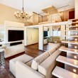 Modern minimalism style two-high drawing-room interior with stai — Stock Photo