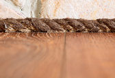 Unusual plinth made from rope, interior decoration detail — Stock Photo