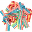 Colorful gummy candy (licorice) sweets, isolated on white - Stock Photo