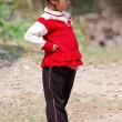 KALANKI - APRIL 2: Portrait of Nepalese girl in red dress — Stock Photo