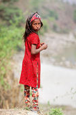 KALANKI - APRIL 2: Portrait of Nepalese girl in red dress April — Stock Photo