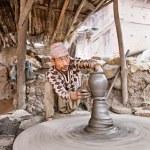 ������, ������: BHAKTAPUR NEPAL APRIL 5: Bhaktapur indigenous potter makes ea