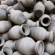 Group of earthenware on Bhaktapur pottery market — Stock Photo
