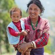 NAGARKOT, NEPAL - APRIL 5: Portrait of unidentified Nepalese fam — Stock Photo #32032709