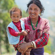 NAGARKOT, NEPAL - APRIL 5: Portrait of unidentified Nepalese fam — Stock Photo