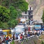 SALLAGHARI, NEPAL - APRIL 4: Traffic jam on Araniko highway on A — Stock Photo #32032741