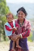 NAGARKOT, NEPAL - APRIL 5: Portrait of unidentified Nepalese fam — Stock Photo