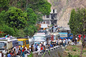 SALLAGHARI, NEPAL - APRIL 4: Traffic jam on Araniko highway on A — Stock Photo