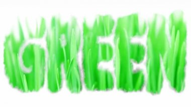 Green ecology symbol word with new grass texture — Stock Video