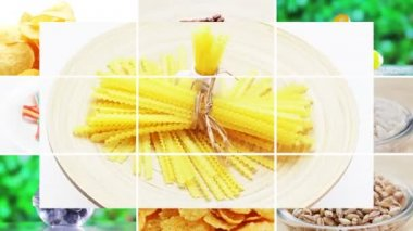 Collage (montage) of many food ingredients rotating — Stock Video