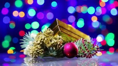 New Year decorations composition rotating on blinking bokeh background — Stock Video