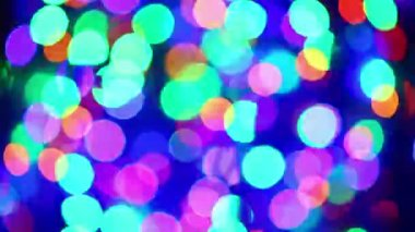 Illumination garland blinking bokeh background with zoom in and out — Stock Video