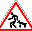 """Funny warning character """"Caution! Wicked dog."""" — Stock Vector"""