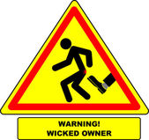 "Amusing warning sign ""Cautiously! The malicious boss."" — Stock Vector"
