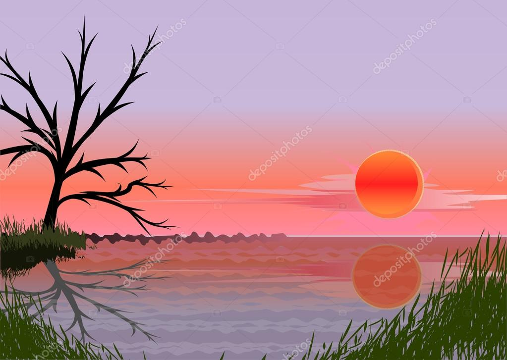 Landscape with sunset — Stock Vector #13198493