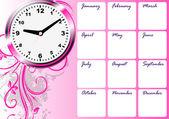 Calendar with clock — Stock Vector