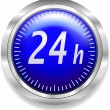 24 hours around the clock symbol on blue and silver — Stok Vektör