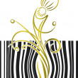 Bar code with flower. Vector ilustration. — Stock Vector
