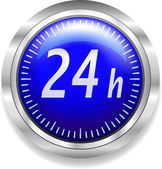 24 hours around the clock symbol on blue and silver — Stock Vector