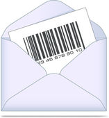 Envelope with bar code. Vector illustration. — ストックベクタ