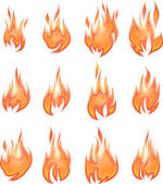 Collection of vector fires isolated on white — Stock Vector