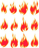 Collection of vector fires isolated on white — Stockvektor