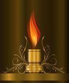 Elemento decorativo de oro con la llama — Vector de stock