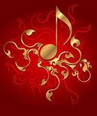 Fundo musical com nota de ouro. ilustração vetorial. — Vetorial Stock
