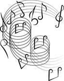 Musical notes on a white background. Vector illustration. — Stock Vector