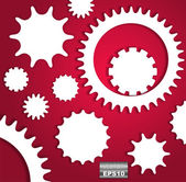 Paper gear in cut of paper style — Vector de stock