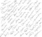 Collection of fictitious contract signatures. Autograph illustra — Stock Vector