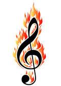 Treble clef in fire. — Stock Vector