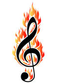 Treble clef in fire. — Stock Vector