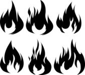 Black fires for design or tattoo — Stock Vector
