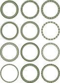 Dozen of elegant round frames — Stock Vector