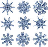 Snowflakes in PCB-layout style — Stock Vector