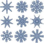 Schneeflocken im pcb-layout-stil — Stockvektor