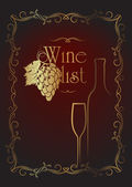 Menu series: wine list in gold and black gamma — Vecteur