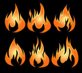 Set of 6 vector fires  — Stock Vector