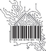 Bar code in PCB-layout style. — Stock Vector